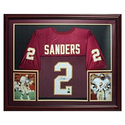 5ea987494 Image Unavailable. Image not available for. Color  Deion Sanders  Autographed Signed Auto FSU Florida State Seminoles Garnet  2 Deluxe Framed Jersey  Sanders