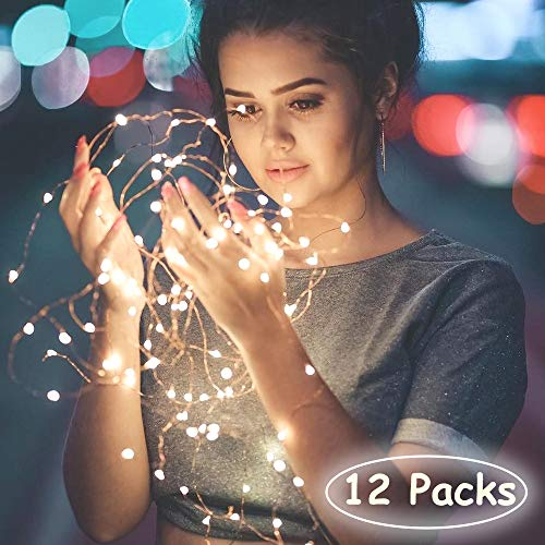 TDELTA 12 Pack 10 FT 30 LED Powered Fairy String Lights - LED String Lights - Firefly Lights - Silver Wire - Battery Operated- for Christmas, Bedroom, Patio, Garden, Parties, Wedding - Warm White