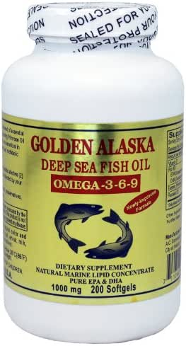 Golden Alaska Deep Sea Omega-3-6-9 Fish Oil 1000mg 200 Softgels