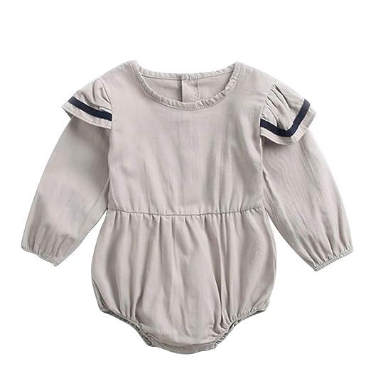 2e86af40d81b Amazon.com  Kingte Infant Baby Girls Twins Outfit Long Sleeve Ruffle ...