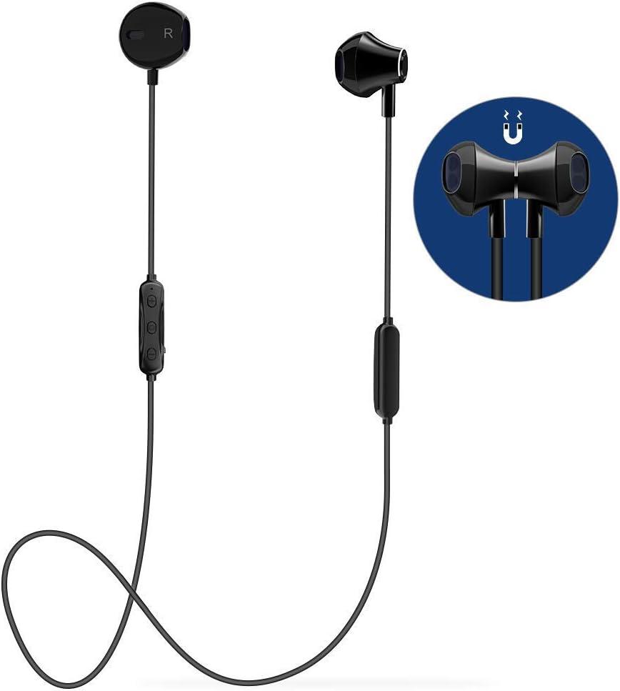Auricular Bluetooth V4.1 Magnético Auriculares Deportivos con Duración 6-8 Horas, Cascos Bluetooth Inalámbricos con Cancelación de Ruido, Sweatproof IPX4 para iPhone, Android Smartphones