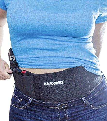 BravoBelt Belly Band Holster for Concealed Carry - Flex FIT Appendix Inside Waistband Gun Belt, Glock 17-43 Ruger S&W M&P 40 Shield Bodyguard Kimber & More | Men & Women - Perfect Gun Owner Gift