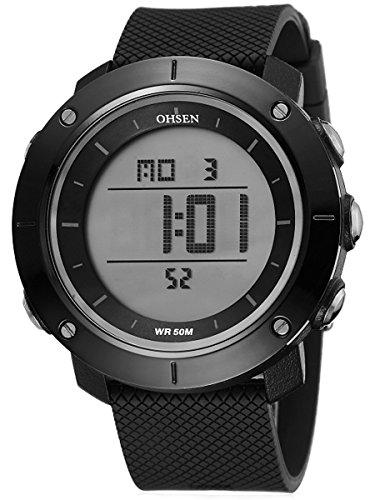 Alienwork Digital Armbanduhr Multi-funktion Uhr Backlight schwarz Polyurethan OS.1611-1