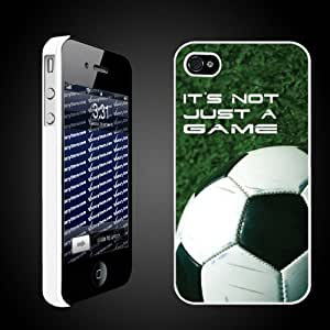 "Soccer Themed ""It's Not Just a Game"" - White Protective iPhone 4/iPhone 4S Hard Case"