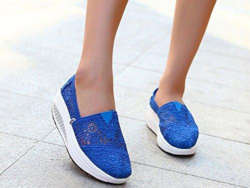 Sneakers Slip-on In Pelle Con Lacci Blu Di Mirah June Blu