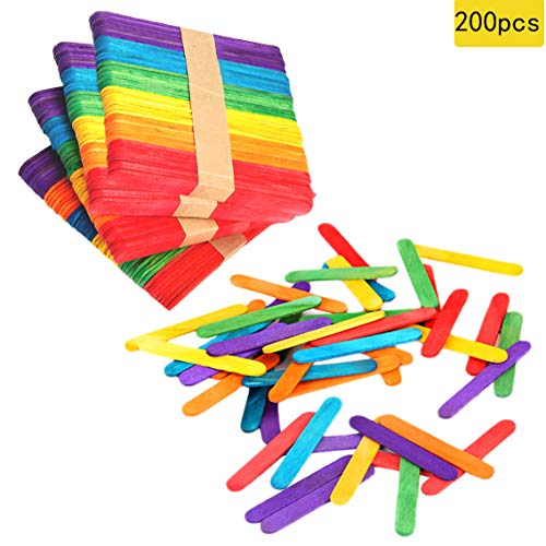 200 PCS Colorful Craft Sticks Popsicle Ice Pop Ice Cream Sticks Natural Wooden...