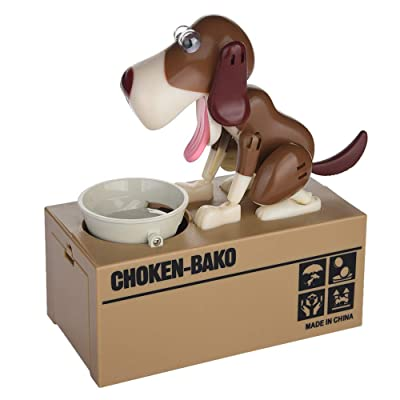 JAWM My Dog Piggy Bank, Robotic Coin Munching Toy Money Box Saving Money Coin Bank (Dark Brown Dog): Toys & Games