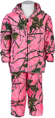 Infant Two Piece Fleece Camo Jacket & Pants Set W/ Little Shooter Magnet, 6-12 months, Coral Camo