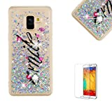 Funyye Glitter Liquid Case for Samsung Galaxy A8 Plus 2018,Stylish Multi-Coloured Sparkle Quicksand Silver Smile Design Ultra thin Transparent Shell Case for Samsung Galaxy A8 Plus 2018,Soft Flexible Silicone Gel TPU Bumper Back Cover Case for Samsung Galaxy A8 Plus 2018 + 1 x Free Screen Protector