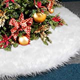"Dreampark Christmas Tree Skirts, 48"" White Tree Skirt Decorations Faux Fur Skirt Large Christmas Ornaments Tree Decor (48 inch)"