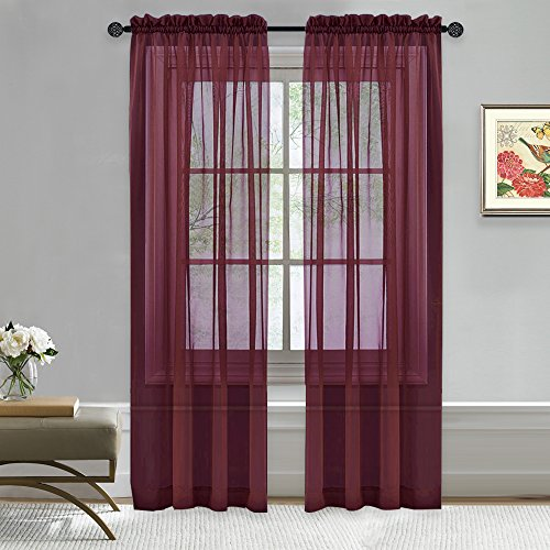 nicetown burgundy sheer curtain panels window treatment fashion rod pocket sheer voile curtains drapes two panels w60 x l84 burgundy wine