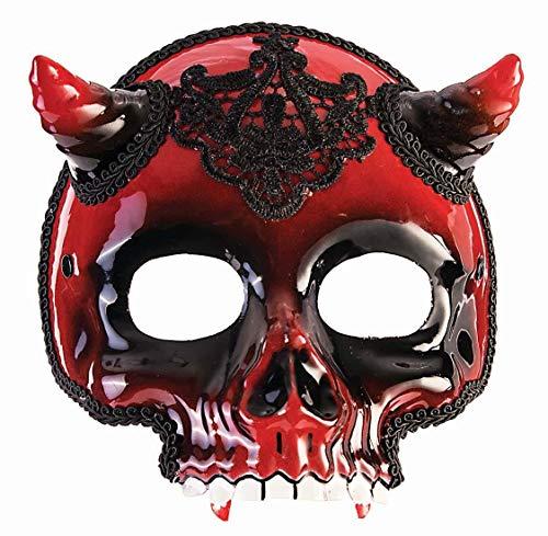 Forum Novelties 81300 Unisex-Adults Half Mask-Demon Skeleton, Black, Red, Standard, Multicolor]()