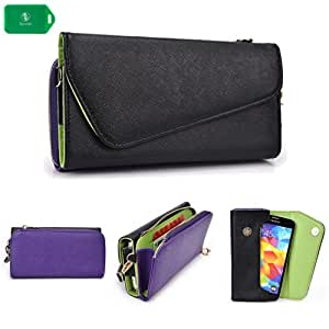 Amoi E78 -UNIVERSAL- WOMENS WRISTLET PHONE HOLDER W/ INTERNAL CARD SLOTS- BLACK AND PURPLE- BONUS CROSS BODY CHAIN INCLUDED