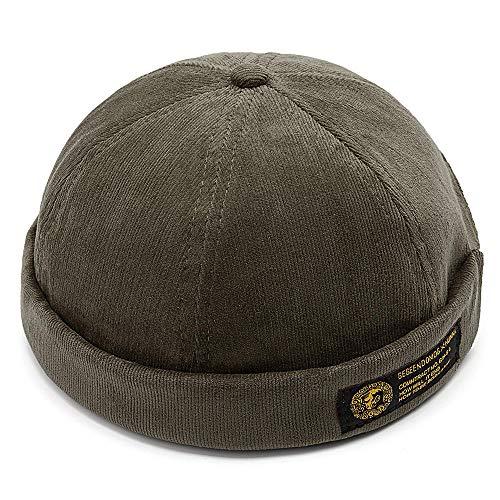 Mens Corduroy Adjustable Solid French Brimless Hat Vogue Retro Skullcap Sailor Cap (Army Green) (Vogue Cap)