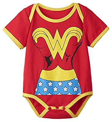 A&J Design Baby Girls' Wonder Woman Short Sleeve Bodysuit