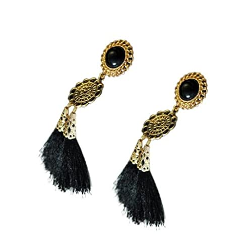 Pendientes de Borla, Holacha Pendientes de Largos Aretes de Imitación perla negro clips de oído Joye...
