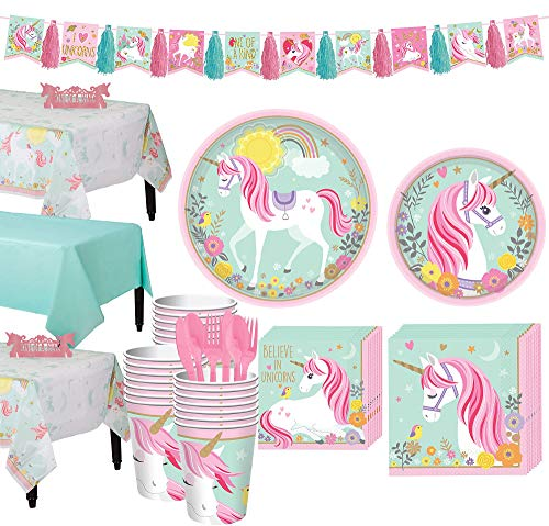 Party City Magical Unicorn Tableware Party Kit and Supplies for 24 Guests, Includes Table Covers, Centerpiece, Garland]()