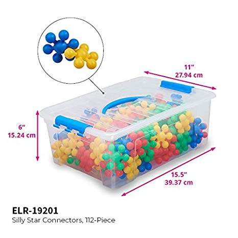 Com Ecr4kids Silly Star Connector Steam Manitive Building Block Set Interlocking Educational Sensory Learning Toys For Children With Storage