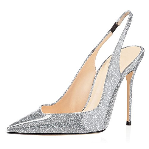 Sammitop Womens Pointed Toe Slingback Pumps High Heel Summer Dress Shoes G-silver zpIz12