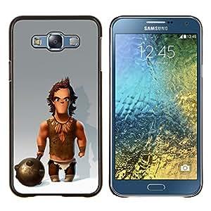KLONGSHOP // Cubierta de piel con cierre a presión Shell trasero duro de goma Protección Caso - Músculos Caveman Club de Nieve - Samsung Galaxy E7 E700 //