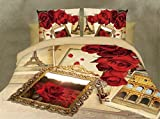 Belomoda 5D Floral Rose Frame Theme Printed Double Bedsheet With 2 Pillow Cover With Zipper Pouchs With Zipper Pouch