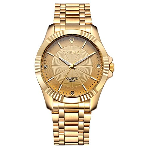 Gold Stainless Steel IP Plated Men's Business Wrist Watches for Male with Crystals (Round Watch Plated)