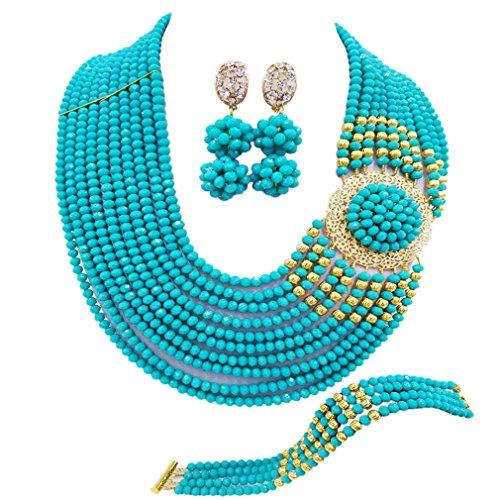 (aczuv Crystal Royal Blue Beads Jewelry Set African Necklaces for Women Nigerian Wedding Jewelry Sets (Aqua Blue))