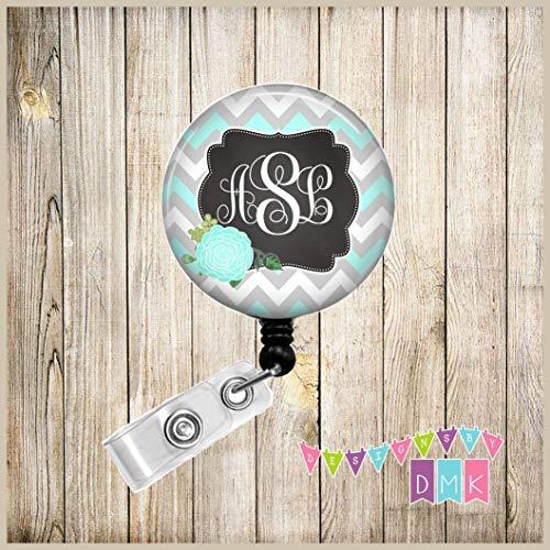 Monogram - Personalized - Blue & Grey Chevron - Blue Mum - Chrysanthemum - Floral - Button Badge Reel - BR0114