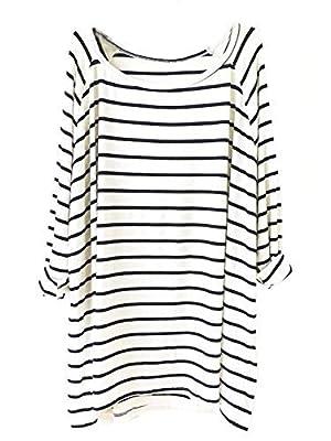 Createearth Women's Dark Blue Striped Long Sleeve Loose T-Shirt