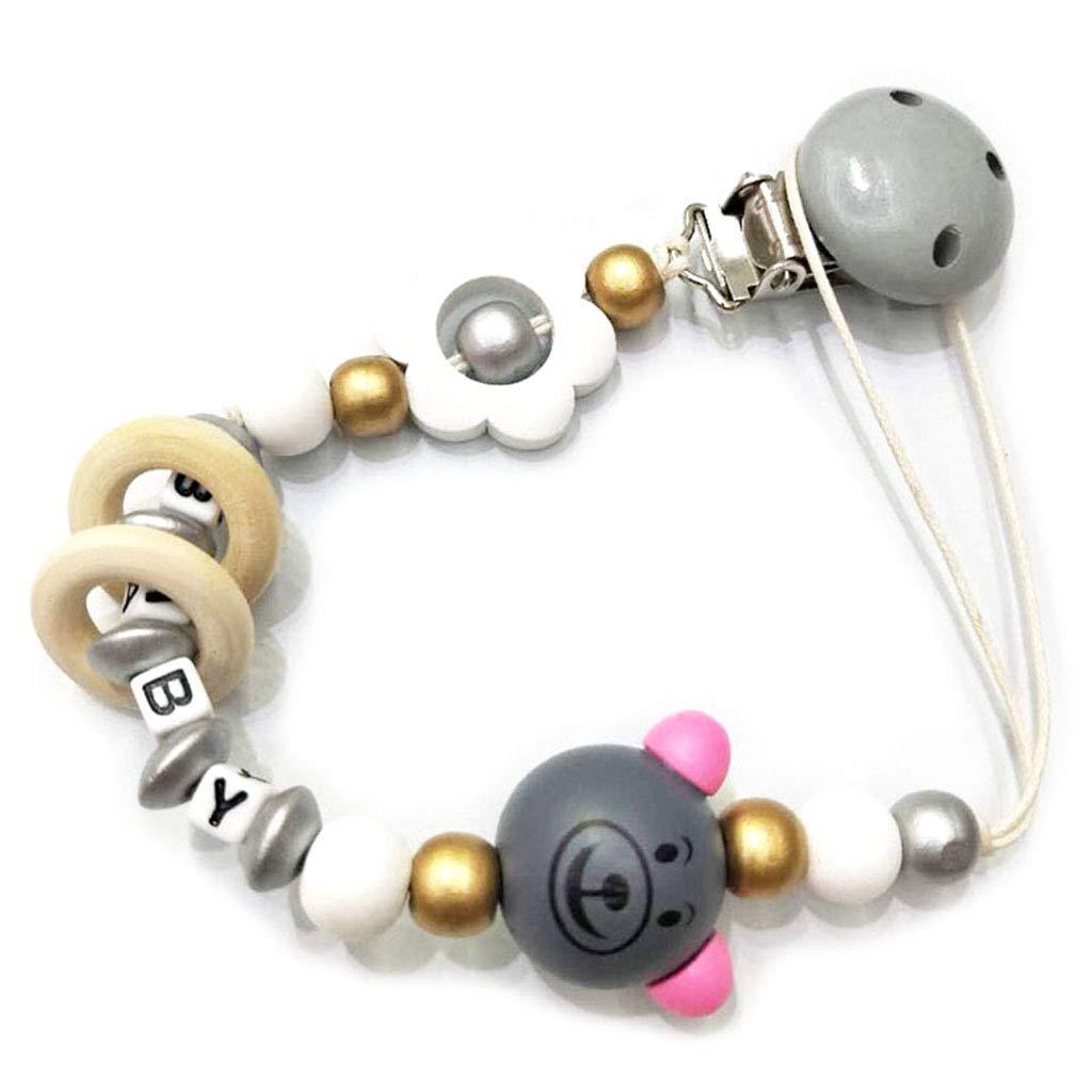 Rose Mentin Attache Sucette pour Bebe Clip Attache T/étine Perles de Florales Accroche T/étine Bebe Chaine pour Sucette Jouet de Dentition