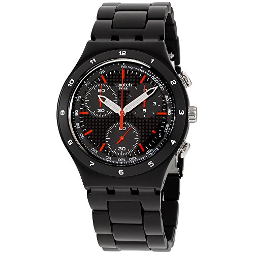 Swatch Unisex YCB4019AG Aluminum Black Dial Watch ()