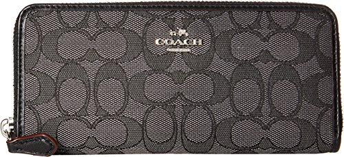 Coach Women's Signature Slim Accordion Zip Wallet, Silver, Black Smoke, Black, OS by Coach