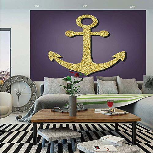(SoSung Arrow Wall Mural,Anchor Pattern with Golden Alluring Filling Tranquility Peace Artistic Display Print Decorative,Self-Adhesive Large Wallpaper for Home Decor 83x120 inches,Plum Gold)