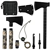 IUNIO Camping Axe Multi-Tool Hatchet Survival Kit 17 inch Folding Portable Camp Ax for Outdoor Hiking Backpacking Hunting Emergency (Black with Bag)