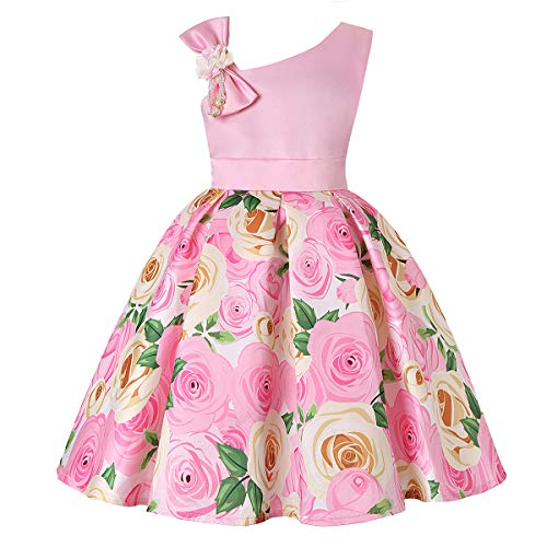 Girls Pink Dress Size 9 Sleeveless Ball Gown for Special Occasion Wedding Party Girls 9-11 Years Halloween Fancy Party Dress Fluffy Knee Length for Teens Bridesmaid Dresses 7-16 Vintage (Pink 150)]()