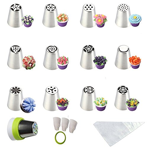 SASRL Russian Piping Tips For Cupcakes Decoration 23-Pcs Set (12 Russian Tips 10 Disposable Pastry Bags 1...