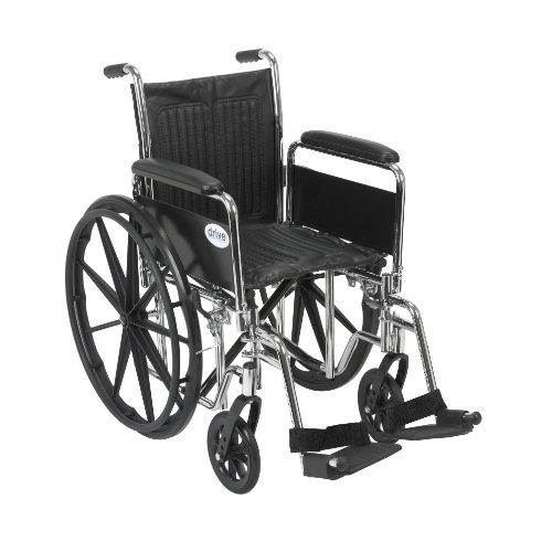 Drive Medical Chrome Sport Wheelchair with Various Arm Styles and Front Rigging Options, Black and Chrome, 16'' by Drive Medical