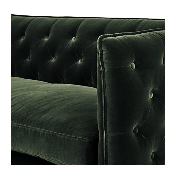 """Amazon Brand – Rivet Eva Tufted Mid-Century Velvet Down-Filled Loveseat, 60.5""""W, Hunter Green - Bring stunning, Mid-century elegance to your living room with this hand-tufted loveseat featuring luxurious velvet upholstery. The plush down-filled bench cushion is removable and reversible, and is held in place by clips at the corners. 60.5""""W x 35.25''D x 30.25''H Durable polyester velvet on hardwood frame and brushed brass legs - sofas-couches, living-room-furniture, living-room - 51KIHcKq4fL. SS570  -"""