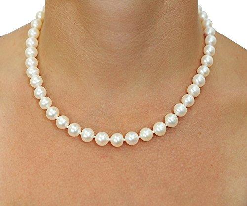 9-10mm blanc perle d'eau douce collier et boucles d'oreilles assorties, 45,7cm-14carats qualité AAAA Longueur Princesse