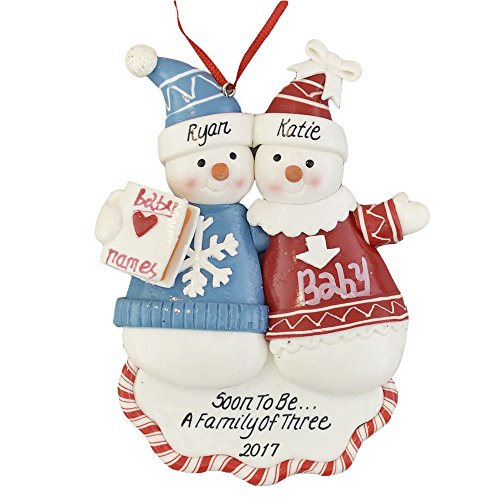 "A Pregnant Couple Personalized Christmas Ornament - Calliope Designs - Soon to Be A Family of 3 - 5"" Tall - Free Customization"
