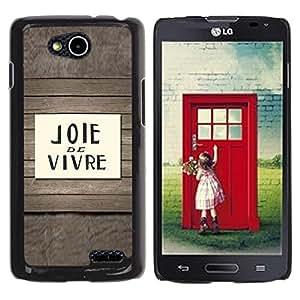 TopCaseStore / la caja del caucho duro de la cubierta de protección de la piel - Joie De Vivre French Quote Saying Text - LG OPTIMUS L90 / D415