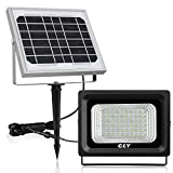 【Upgrade】Solar Flood Light Outdoor 60 LED Security Lights IP66 Waterproof 300 Lumens Floodlights 6000K Auto-Induction Solar Power Bright Light for Lawn Backyard Garden (Daylight White)