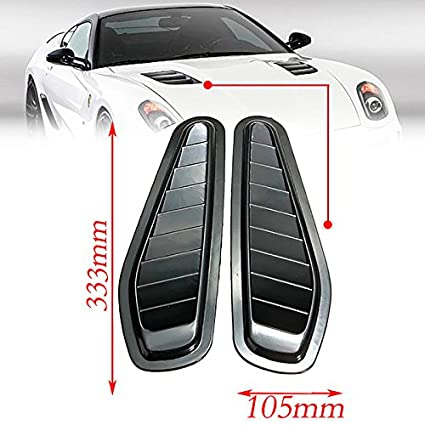 CHAMPLED Universal 2 x ABS Car Decorative Hood Scoop Smoke Black Air Flow Intake Vent Cover