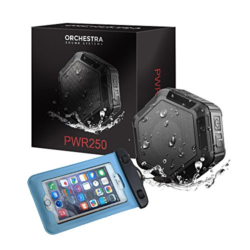 Orchestra PWR250 Portable Bluetooth Speakers - Wireless Water Resistant Rugged Speaker With Richer Bass, Loud Sound & Long Battery Life - Great for Shower, Beach & Outdoors- Free Waterproof Phone Case