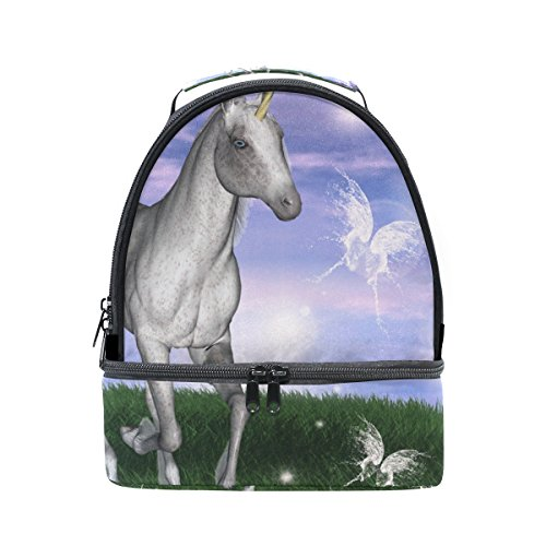 GIOVANIOR Unicorn In An Enchanted Meadow Lunch Bag Insulated Lunch Box Picnic Bag School Cooler Bag for Men Women Kids Meadow Lunch Box