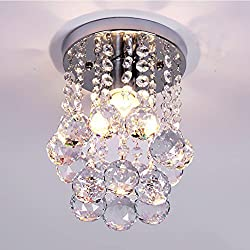NAVIMC Mini Modern Crystal Chandeliers Rain Drop Pendant Flush Mount Ceiling Light Lamp,Diameter6.29 Height 9 Inch