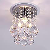 NAVIMC Mini Modern Crystal Chandeliers Rain Drop Pendant Flush Mount Ceiling Light Lamp,Diameter6.29 Height 9 Inch For Sale