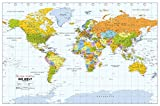 Political World Wall Map, Spanish Language, Mapa político del mundo, idioma español - 40.75 x 27 inches - Paper - Flat Tubed