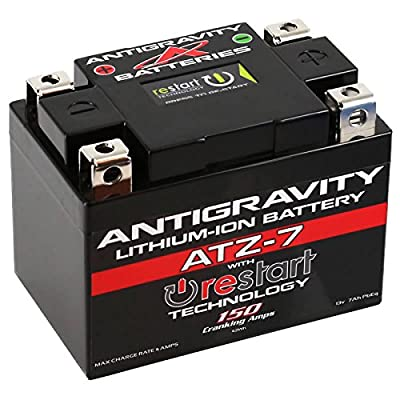Antigravity ATZ-7-RS Lithium Ion Battery with BMS and Re-Start Technology - 150cca 1.32 Pounds 7Ah Lightweight Motorcycle Battery - Replaces YTZ5S - YTZ7S - YTZ8V - YTX4L-BS - YTX5L-BS - YTX7L-BS - MA