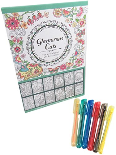 Rainbow Push Up Retractable Crayon Set Art Tools (6) with Glamorous Cats Coloring Book 50 Sheets (7 Piece Set)]()